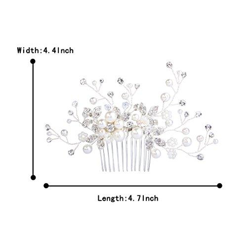 Clearine Damen Künstliche Perlen Kristall Blume Handarbeit DIY Braut Hochzeit Haarkamm Haarschmuck Ivory-farbe - 6