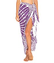 SHU-SHI - Pareo para Mujer - Diseño con Mandalas - Talla única - Morado/Blanco