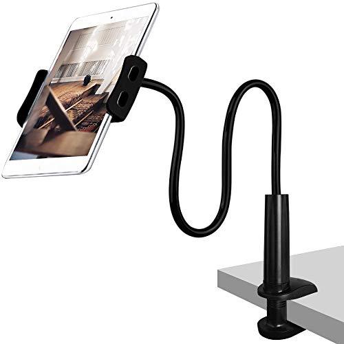 CLM-Tech Cuello de Cisne Soporte para 4-11 Pulgadas Tableta y Teléfono Inteligente, Flexible Ajustable Brazo para Cama, Escritorio y mas, 78cm Largo, Negro
