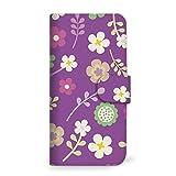 mitas REGZA Phone T-01D ケース 手帳型 花 花柄 花がら フラワー パープル (194) SC-0029-PU/T-01D