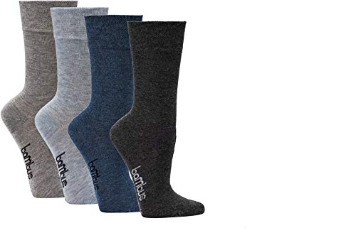 socksPur DAMEN und HERREN Wellness-Socken BAMBUS Normal-lang, melange -3er PACK Gr. 35-38, 2270: Farblich vorsortiert in MELANGE