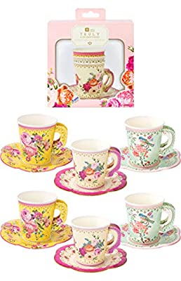 """Talking Tables Truly Scrumptious Party Vintage Floral Tea Cups and Saucer Sets, Pack of 12, Height 8cm, 3"""", Mixed colors"""