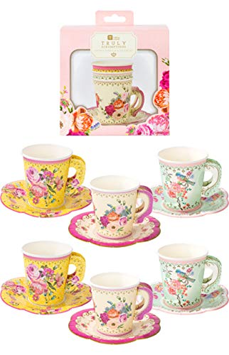Talking Tables Pack of 12 Cup & Saucer Afternoon Vintage Floral Tea Set | Truly Scrumptious for Birthday Party Wedding Baby Shower, Paper, Mixed Colours