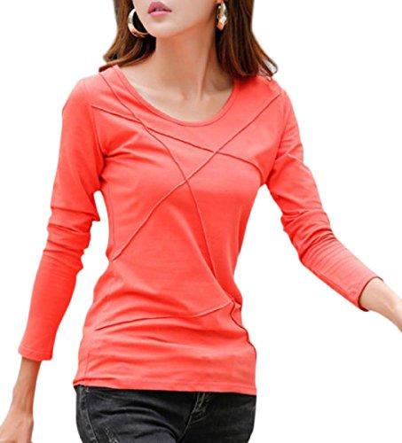 [ルナー ベリー] カットソー 長袖 Tシャツ パイピングデザイン 2タイプ レディース 3203 (XL, オレンジ_長袖) 大きい ロンティー 旬長袖tシャツ レディース 3203 (XL, オレンジ_長袖)