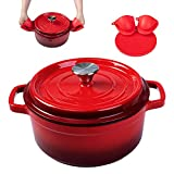 Enameled Cast Iron Dutch Oven Pre-seasoned Pot with Lid &...