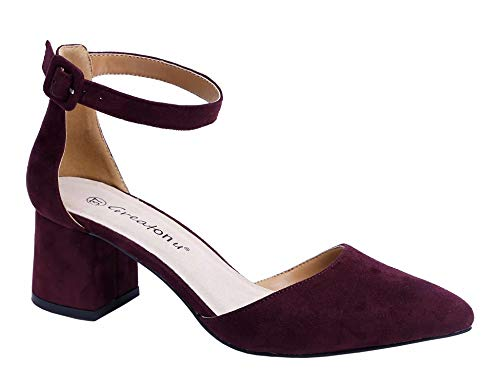 Greatonu Party Dress Pump Adorable Low Block Heel Closed Toe Chunky Sandals (8 US, Burgundy)