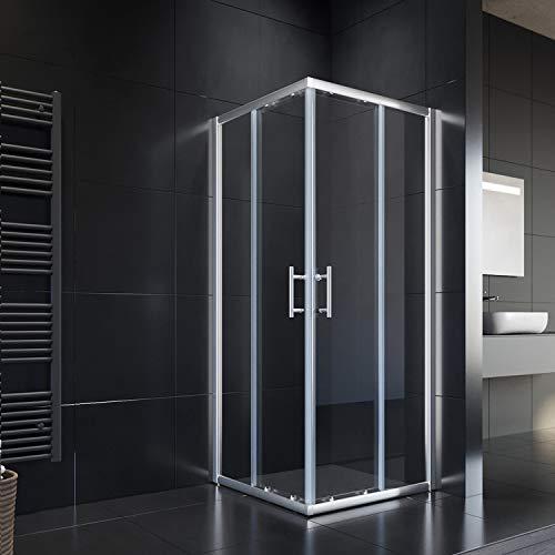 SONNI 900x900x1950mm Duschkabine Eckeinstieg Doppel Schiebetür Echtglas Duschwand