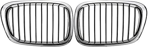 Rejilla delantera del radiador del coche, cromo negro / negro brillante, rejilla delantera para el riñón para BMW E39 M5 5 Series 525i 528i 530i 1997-2003, pieza de accesorios para el coche (color: