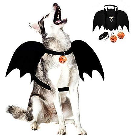 Legendog Dog Bat Wings, Halloween Costumes for Dogs, Pet Costume, Bat Wings for Dogs with Dog Leash and Pumpkin Bells, Pet Bat Wings