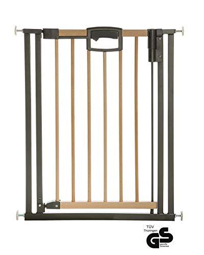 Geuther - Tür- und Treppenschutzgitter ohne Bohren Easylock Wood, 2791+, für Kinder und Hunde, zum klemmen, Metall/Holz, 68 - 76 cm, natur/schwarz
