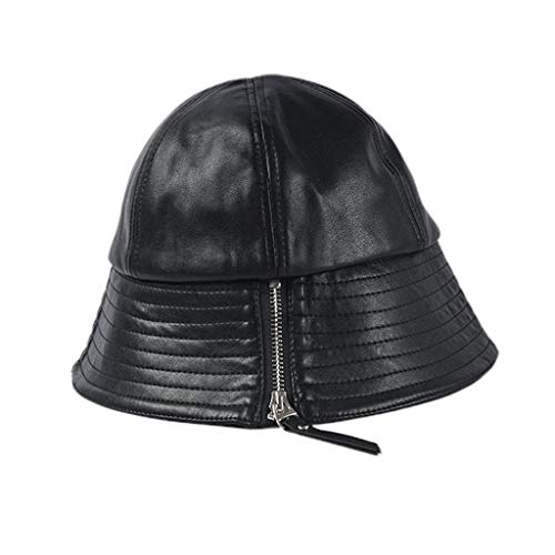mdhsh Bucket Hat 1 Piece Women Artificial Leather Zipper Decoration Bucket Cap Lady Leisure Adjsutable Foldable Dome Fisherman Hat Black