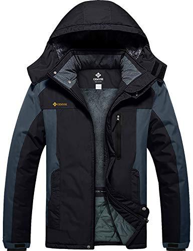 GEMYSE Homme Veste de Ski Imperméable de Montagne Manteau d'hiver Extérieur en Polaire Coupe-Vent avec Capuche (Gris Noir,3XL)