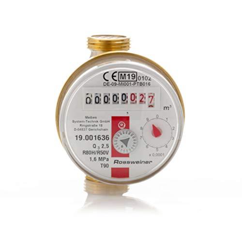 1270611B3 Wohnungs-Wasserzähler Aufputz für Warmwasser, Q3 2,5m³, Baulänge 80 mm