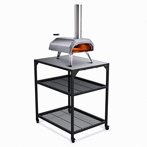 Ooni Pizzatisch aus Stahl– medium, Grill Beistelltisch, Servierwagen Outdoor, Küchenwagen mit 4Rollen, Grillwagen