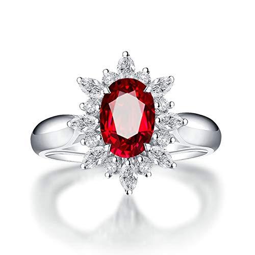 Bishilin Anillo de Oro Blanco 750 Reales Clásico Bandas de Boda Rojo Rubí Diamante Anillo de Compromiso de Boda Ajuste Cómodo Forma Ovalada Joyas Elegantes para Cumpleaños Navidad Año Nuevo Rojo