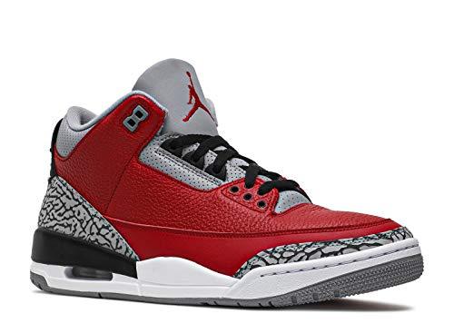 Jordan Air 3 Retro SE, Basketball Shoe Mens, Rojo Pasión/Cement Grey/Negro, 46 EU