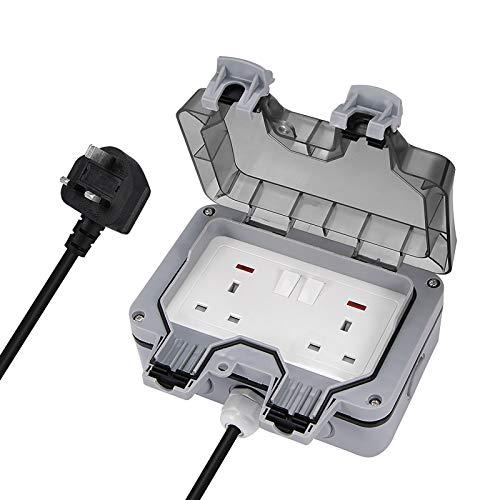 Verdelif Toma de corriente para exteriores, IP66 interruptor de enchufe a prueba de salpicaduras, a prueba de lluvia, enchufe de seis agujeros, enchufe británico con cable de extensión de 3 metros