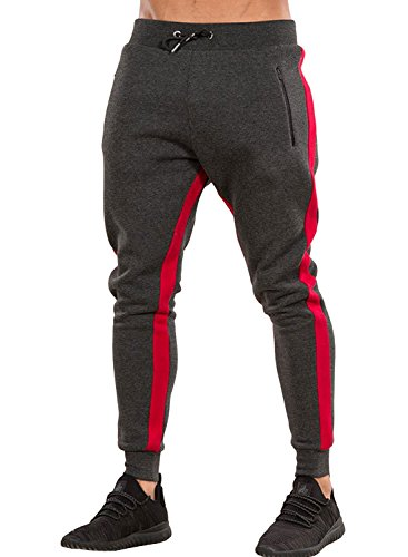 Ouber Men's Gym Jogger Pants Slim Fit Workout Running Sweatpants with Zipper Pockets (M, Red)