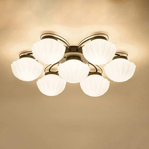 YANQING Duurzame Plafondlampen Moderne LED Ronde Plafondlamp Glas Lampenkap Kroonluchter Slaapkamer Woonkamer Decoratie Lamp Plafondlampen (Kleur : E27*4-70 * 20cm), Kleur:E27*3-52 * 20cm