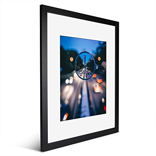iDecorlife Newly Upgraded 16x20 Black Picture Frames 1PC - Extra - Thick Tempered Glass and Real Wood 11x14 Picture Frame with Mat or 16x20 Frame Without Mat - Wall Mounting Ready Real Wood Photo Frame
