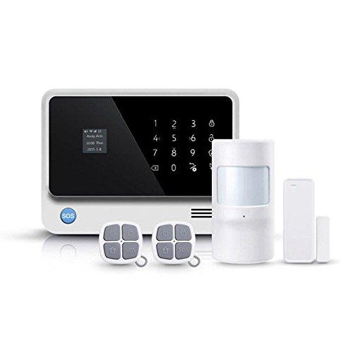 Kit Alarma WiFi Plus con APP control remoto mediante GSM, Wi-Fi. Alarma sin cuotas conexión propiedad. Fácil instalar, configurar. Control remoto aplicación teléfono móvil (AZ019 Blanca)