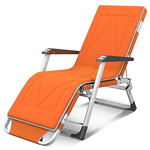 LLSS Metal Recliner Sun Lounger Adjustable Orange Chair with Cushion Outdoor Garden Furniture Folding Chairs For The Beach Pool Patio Outdoor Garden Camping Feet Steel