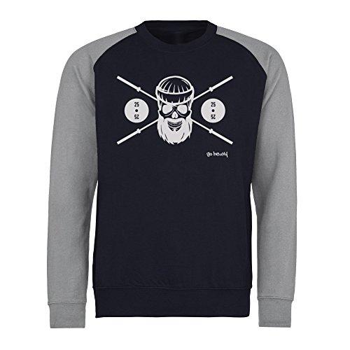 GO HEAVY Herren Baseball Sport Sweatshirt | Gym Langarm Fitness Pullover | Barbell Skull | Blau/Grau XL