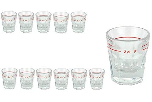 Van Well Set van 12 sterke drank glas lansteen met maatstreep | 2 cl | jeneverglaasjes | Stamper | Shot Glas | Hoogwaardig partyglas | glanzend | Gastro