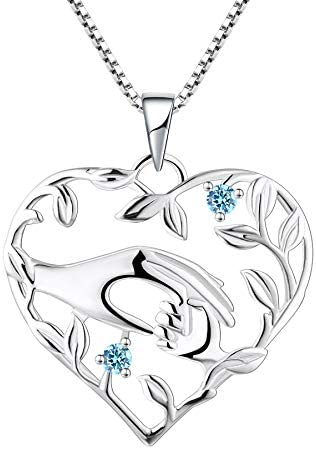 YL Mother Necklace Sterling Silver Mum Daughter Pendant Created Aquamarine Mum Hold Child s product image