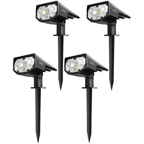 LITOM - Juego de 4 lámparas solares LED para exteriores (12 ledes, luz de seguridad), color blanco frío