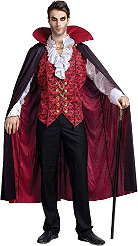 Spooktacular Creations Renaissance Medieval Scary Vampire Deluxe Halloween Costume for Men Role-Playing Sins Cosplay (Medium) Red