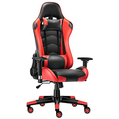 Gaming Chair, Music Video Chair with Headrest, Racing Computer Game Chair, Ergonomic Backrest and Seat Height Adjustment Recliner, Heavy Duty Office Desk Chair