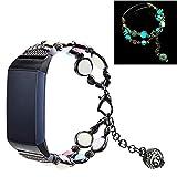 Yimiky Charge 4 - Pulsera para Fitbit Charge 3, Charge 4, hecha a mano, perlas sintéticas, piedra natural, luz nocturna, luminosa, pulsera para mujer