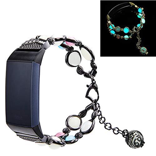 MVRYCE Armband für Fitbit Charge 4, 5,5-7,5 Zoll Edelstahl Ersatzuhrband Elastische Perle mit verstellbarem Verschluss Handgefertigtes Perlenarmband Kompatibel für Fitbit Charge 3 / Charge (Schwarz)