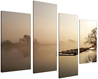 Large Brown Beige Sepia Jetty Landscape Canvas Wall Art Pictures - Multi Panel - Big Modern Split Canvases - Set of 4 Prints - XL - 130cm Wide