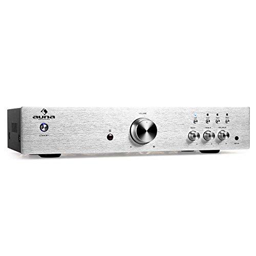 auna AV2-CD508 Stereo HiFi Audio-Verstärker Heimkino-Verstärker Musik Anlage (600 Watt max, Aux-In, 3 x Stereo-Cinch-Line-Eingang, Massive Edelstahl-Frontblende, Fernbedienung) Silber