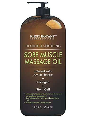 Arnica Sore Muscle Massage Oil - for Massage Therapy & Best Natural Therapy Oil with Lavender, Mint & Chamomile Essential Oils, Collagen & Stem Cells - Therapeutic Oils for Body & Massage Lotion 8 oz