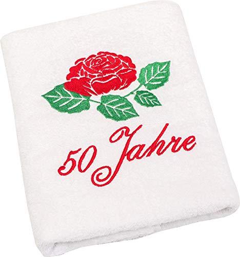 Geschenk zum 50 Geburtstag Handtuch mit gestickter Rose für Frauen- Ein dauerhaft nützliches 50 Jahre Geburtstagsgeschenk-Eine praktische 50 jähriges Jubiläum Geschenkidee mit Geschenkverpackung