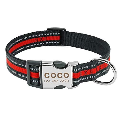 Mdsfe Collar de Perro de Nylon Personalizado Placa de identificación del Collar de Mascota Reflectante, Adecuado para Perros pequeños y medianos - 014-Rojo, S