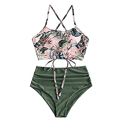 ZAFUL Leaf Print Criss Cross Tankini Ruched High Waisted Swimsuits Palm Floral Swimwear Multi-A S