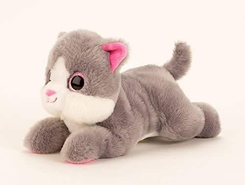 Knuffel schattige kat met grote ogen in grijs lengte 27 cm