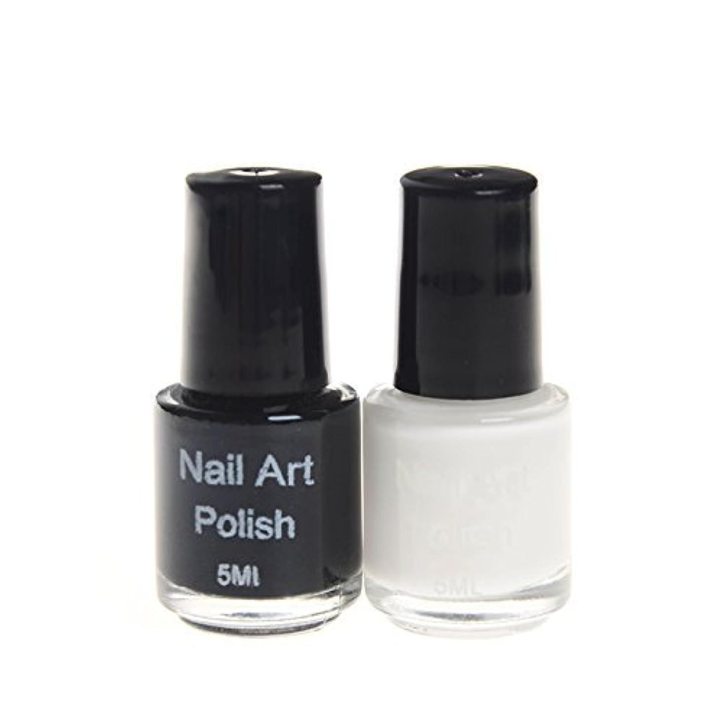 注釈を付ける転倒味スタンプネイル専用ポリッシュ 2色ホワイト&ブラックカラーマニキュアネイルアート  スタンプネイルアート