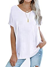 Sousuoty Oversized T Shirts for Women Casual V Neck Short Sleeve Tops Loose