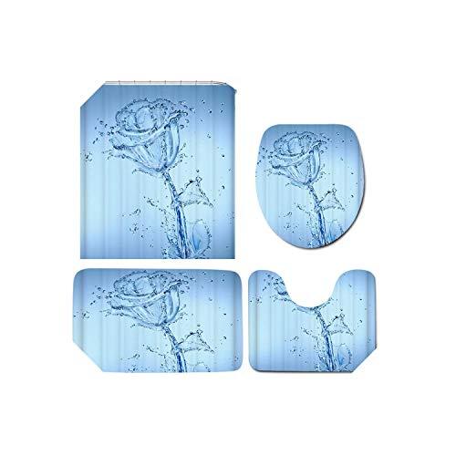 Cortina de ducha de arte negro |Impresión 3D Flor de agua romántica Impermeable Baño Cortina de ducha Cubierta del inodoro Alfombrilla antideslizante Alfombra Alfombra Baño Set-4pcs Juego completo-
