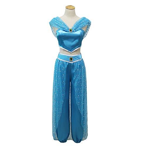 MASII El Príncipe árabe Aladdin La Sra. Jasmine Disfraces De rol para Adultos Y Niños,Female-XXL