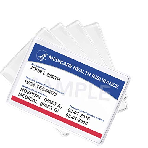 of staples order business cards 5 Pack - Premium Medicare Card Protector Sleeves - Durable 2 ⅜ X 3 ⅜ Business Card Holders - Clear Vinyl Plastic Covers for Insurance & Social Security Metro & License or Credit Cards by Specialist ID