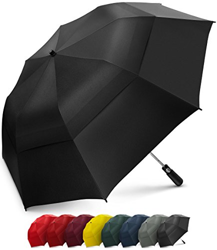EEZ-Y 58 Inch Portable Golf Umbrella Large Windproof Double Canopy - Automatic Open Strong Oversized Rain Umbrellas