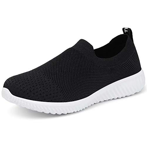 LANCROP Women's Sock Walking Shoes - Comfortable Mesh Slip on Easy Sneakers 11 US, Label 43 Black