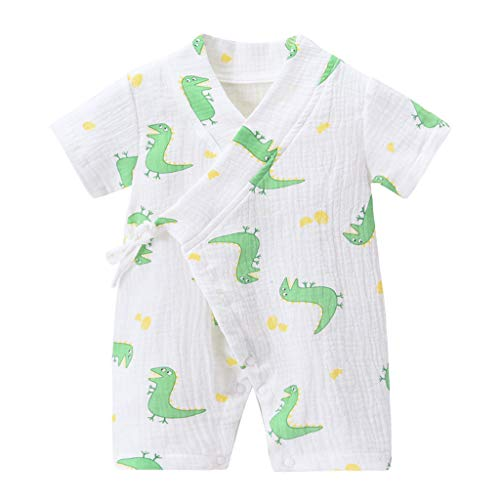 YWLINK Mono De Bebé ReciéN Nacido Algodon Manga Corta Kimono De Gasa Mameluco Pijamas De Encaje FáCil De Llevar Y Quitar Fiesta De Bautizo Infantil NiñO CumpleañOs Presente(Blanco,0-3 meses/59)