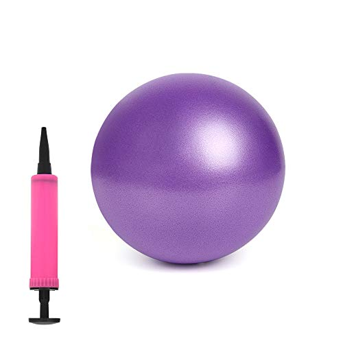 """Mini Exercise Ball 10"""" for Yoga Pilates Barre Women, Balance Stability Training, Fitness Gym Workout Anti Burst and Non-Slip Balls with Small Inflatable Pump"""